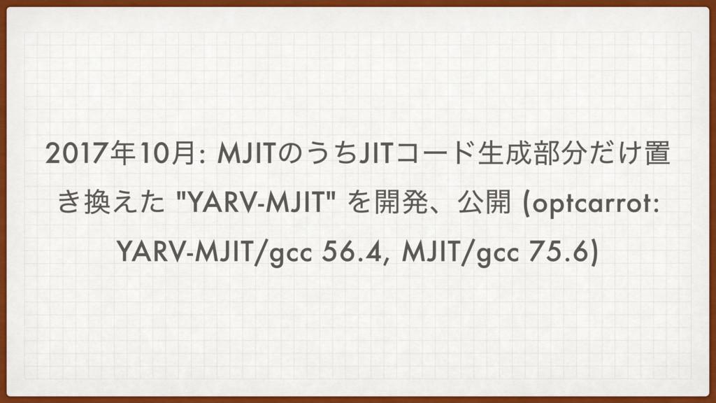 """201710݄: MJITͷ͏ͪJITίʔυੜ෦͚ͩஔ ͖͑ͨ """"YARV-MJIT""""..."""