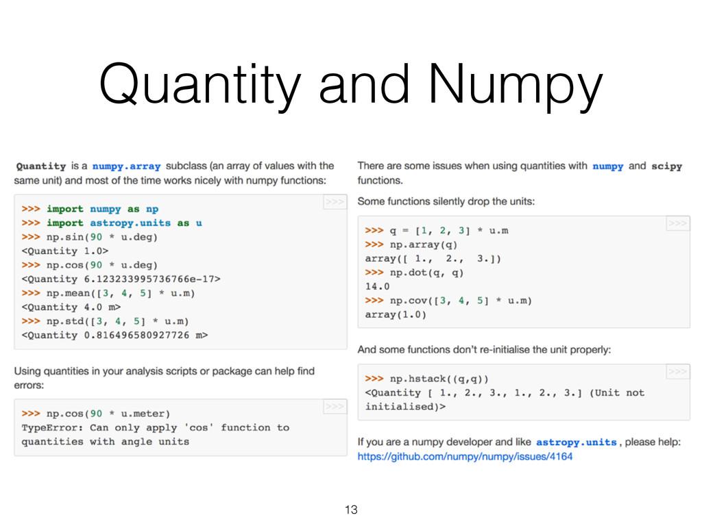 Quantity and Numpy 13