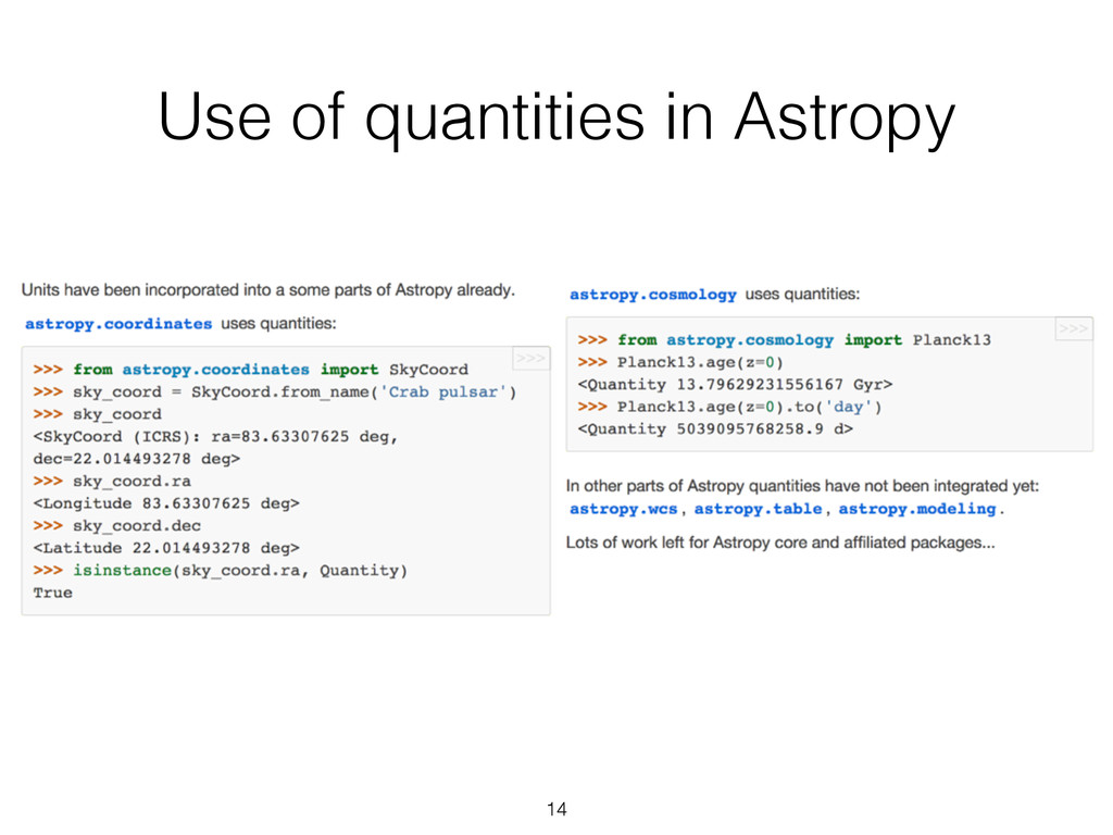 Use of quantities in Astropy 14