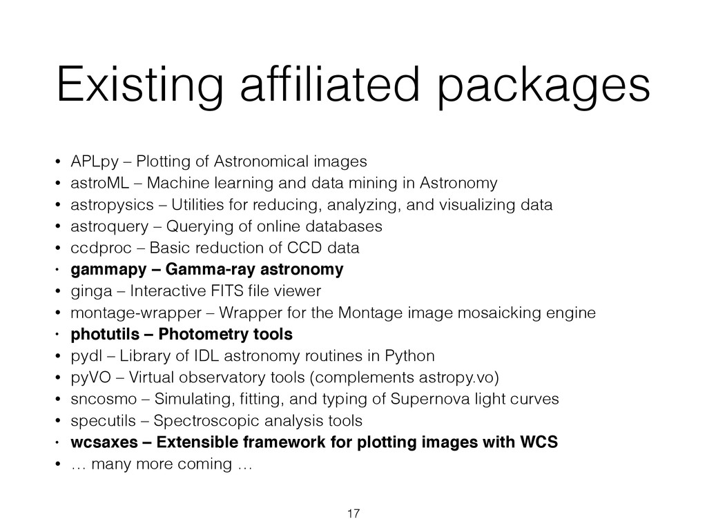 Existing affiliated packages • APLpy – Plotting ...