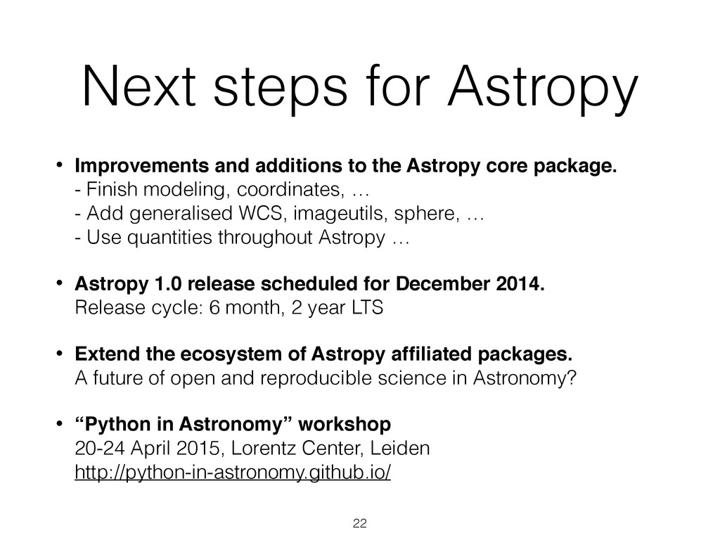 Next steps for Astropy • Improvements and addit...