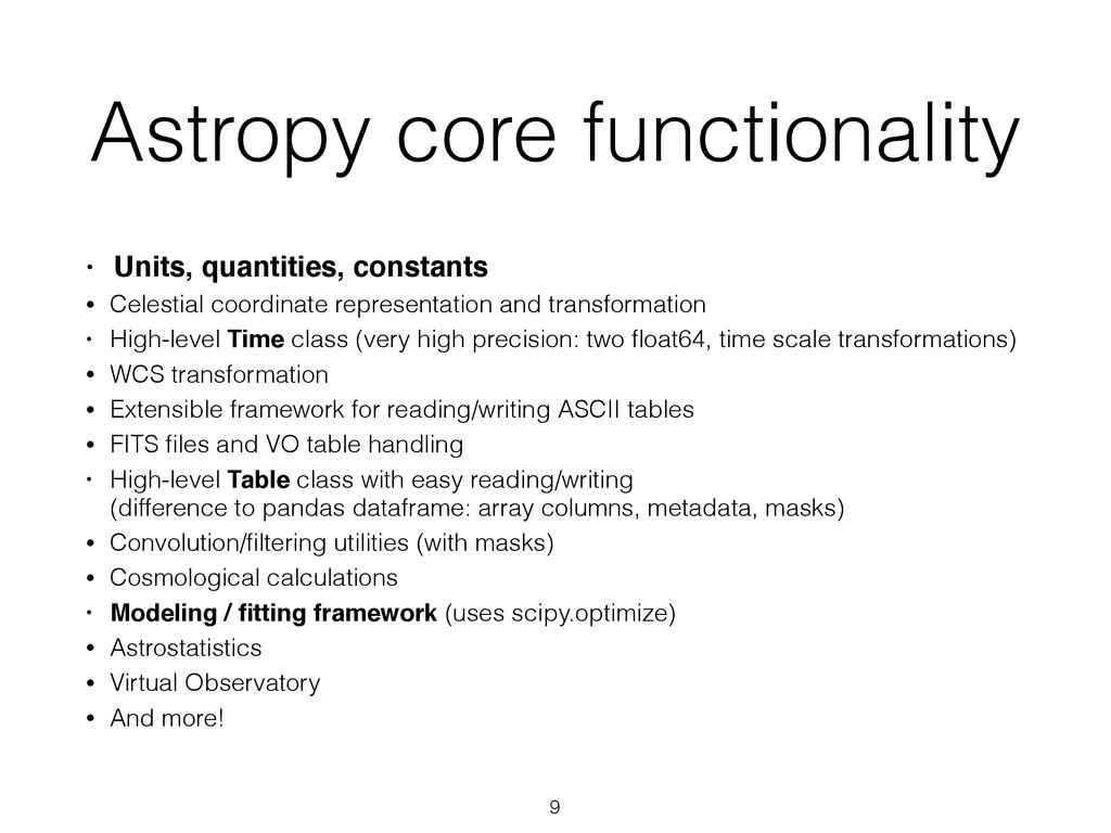 Astropy core functionality • Units, quantities,...