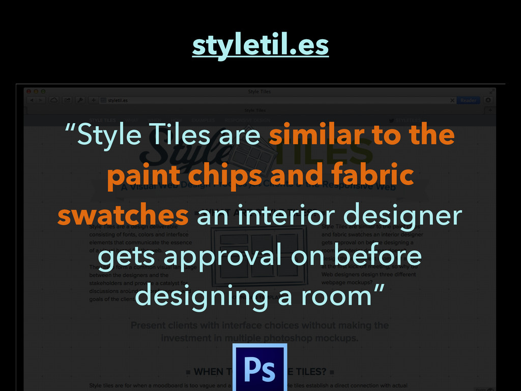 "styletil.es ""Style Tiles are similar to the pai..."