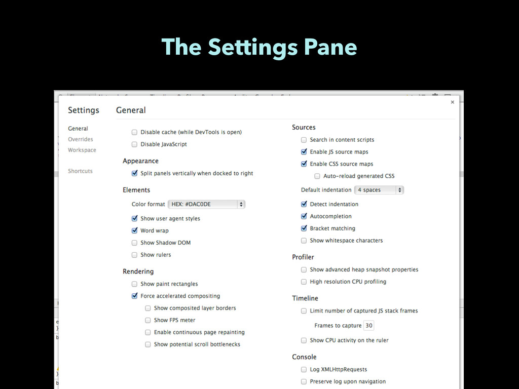 The Settings Pane
