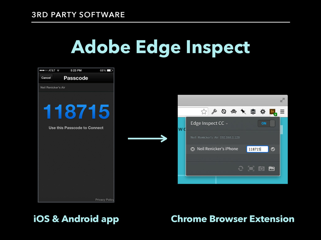 Adobe Edge Inspect iOS & Android app Chrome Bro...