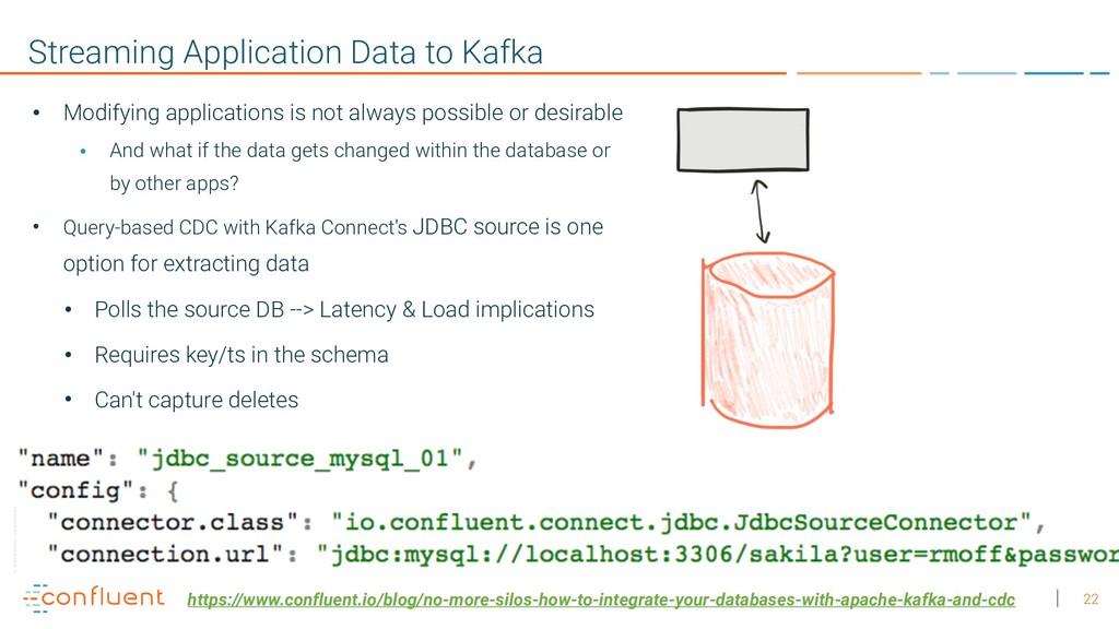 22 Streaming Application Data to Kafka • Modify...
