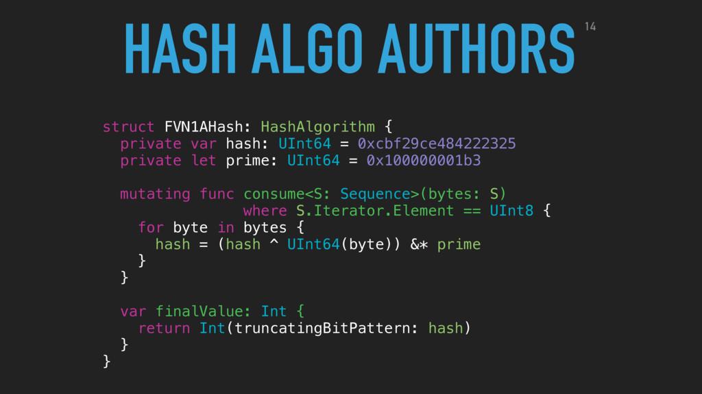 struct FVN1AHash: HashAlgorithm { private var h...