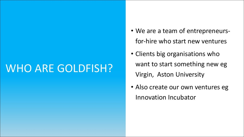 • We are a team of entrepreneurs- for-hire who ...