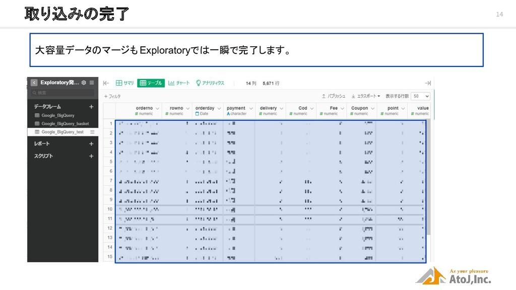 14 取り込みの完了 大容量データのマージも Exploratoryでは一瞬で完了します。