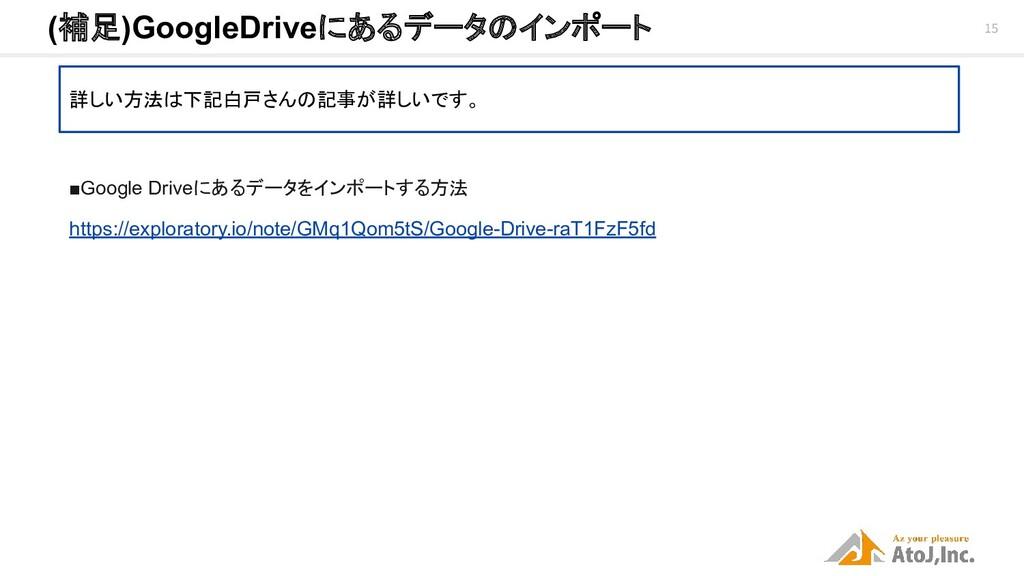 15 (補足)GoogleDriveにあるデータのインポート 詳しい方法は下記白戸さんの記事...