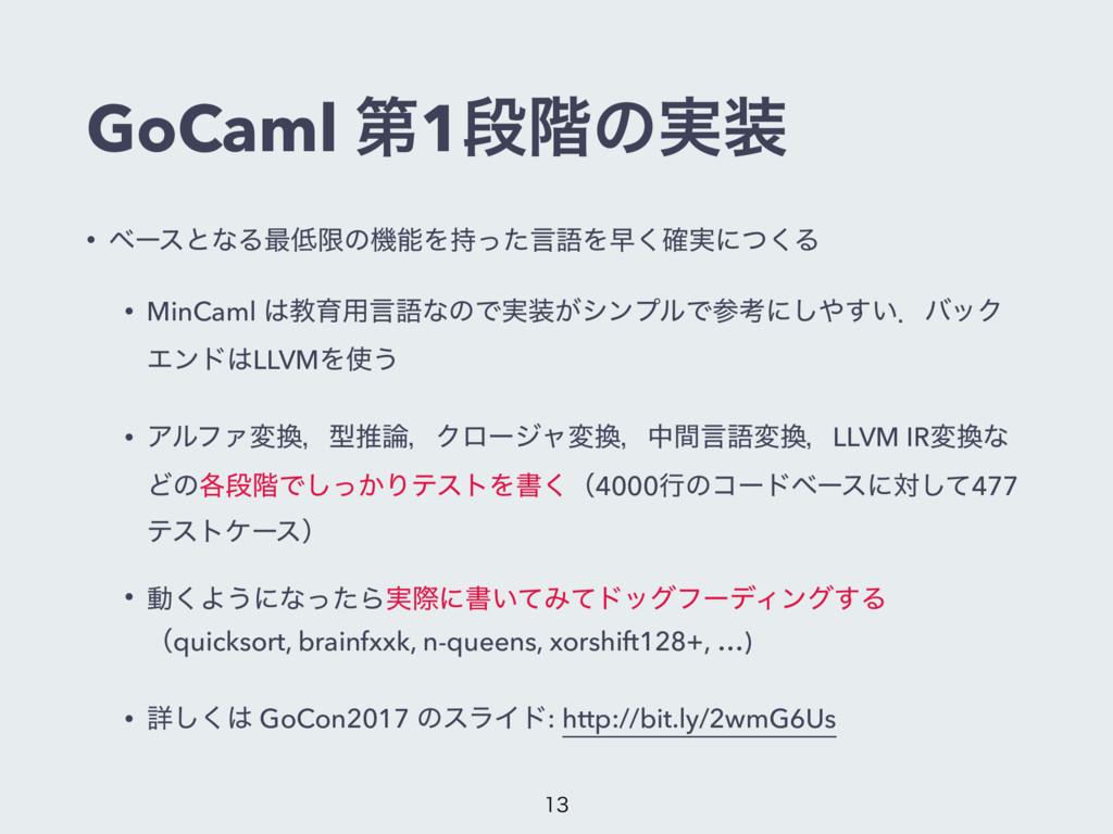 GoCaml ୈ1ஈ֊ͷ࣮ • ϕʔεͱͳΔ࠷ݶͷػΛͬͨݴޠΛૣ࣮֬͘ʹͭ͘Δ • ...