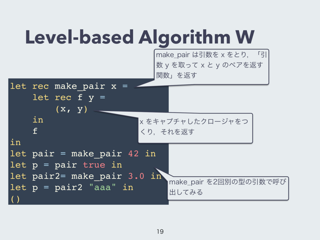 Level-based Algorithm W let rec make_pair x = l...