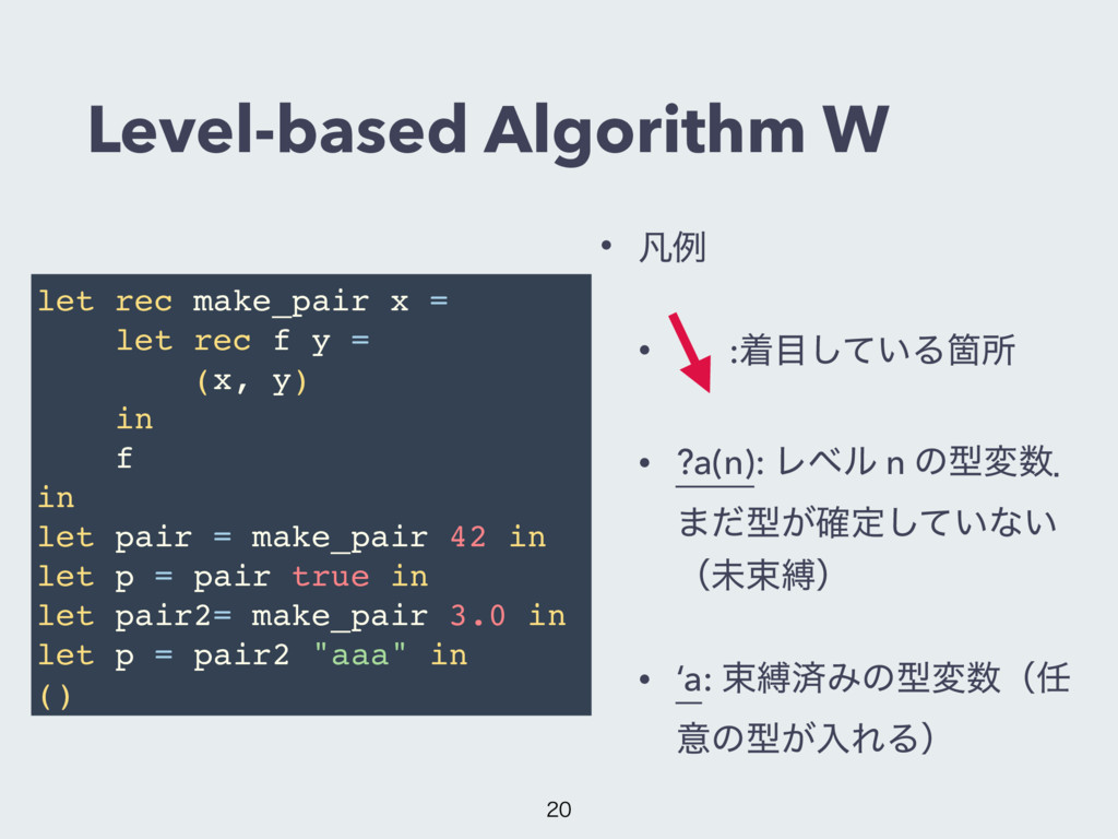 Level-based Algorithm W • ຌྫ • ɹ :ண໨͍ͯ͠ΔՕॴ • ?a...