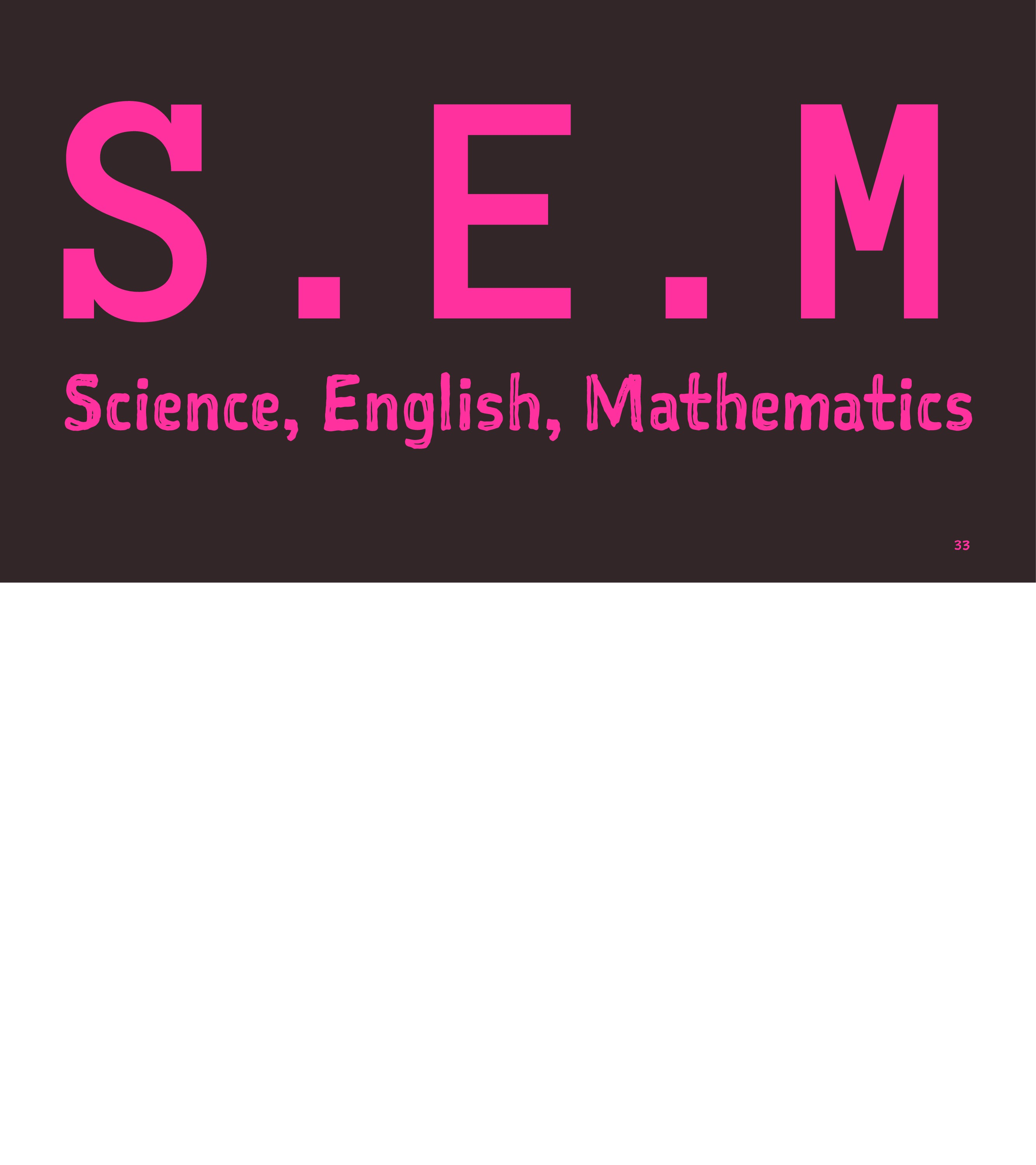 S.E.M Science, English, Mathematics 33