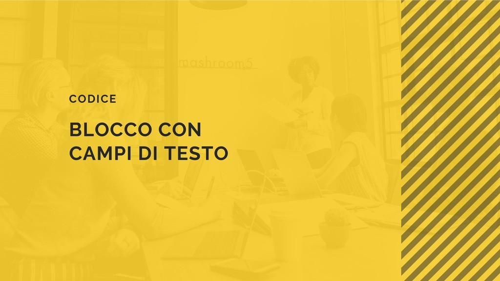 BLOCCO CON CAMPI DI TESTO CODICE