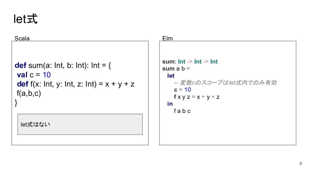 let式 def sum(a: Int, b: Int): Int = { val c = 1...
