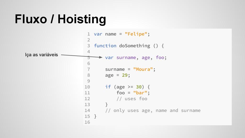 Fluxo / Hoisting Iça as variáveis