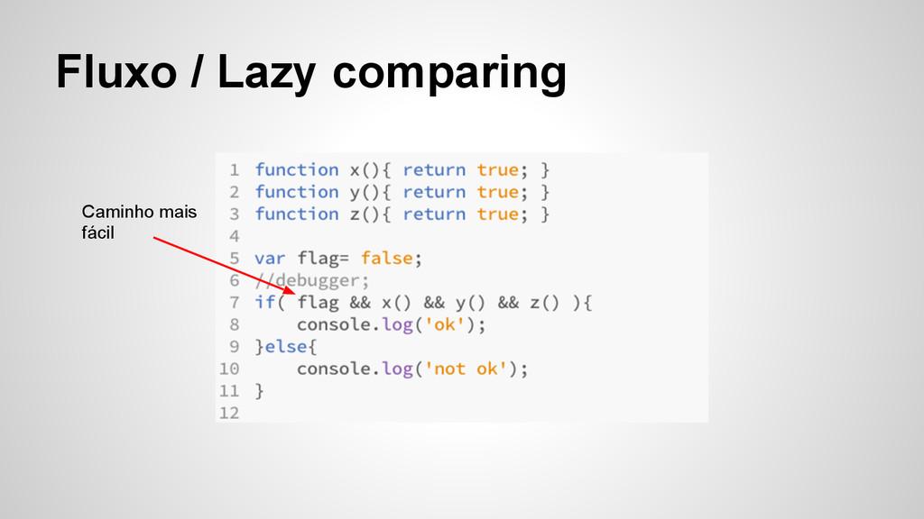 Fluxo / Lazy comparing Caminho mais fácil