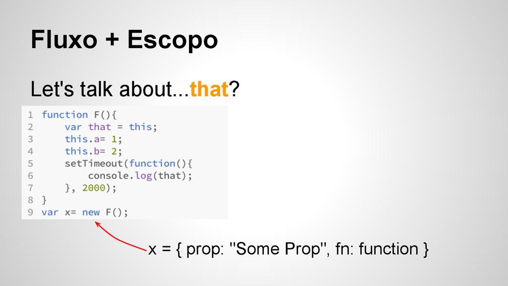 Fluxo + Escopo Let's talk about...that? x = { p...