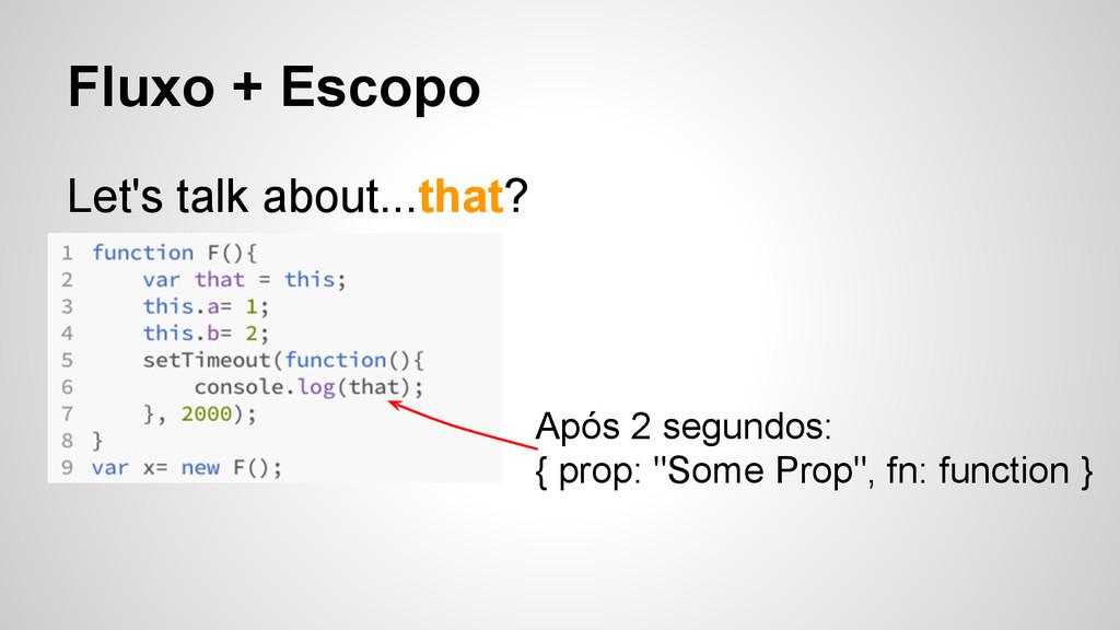 Fluxo + Escopo Let's talk about...that? Após 2 ...