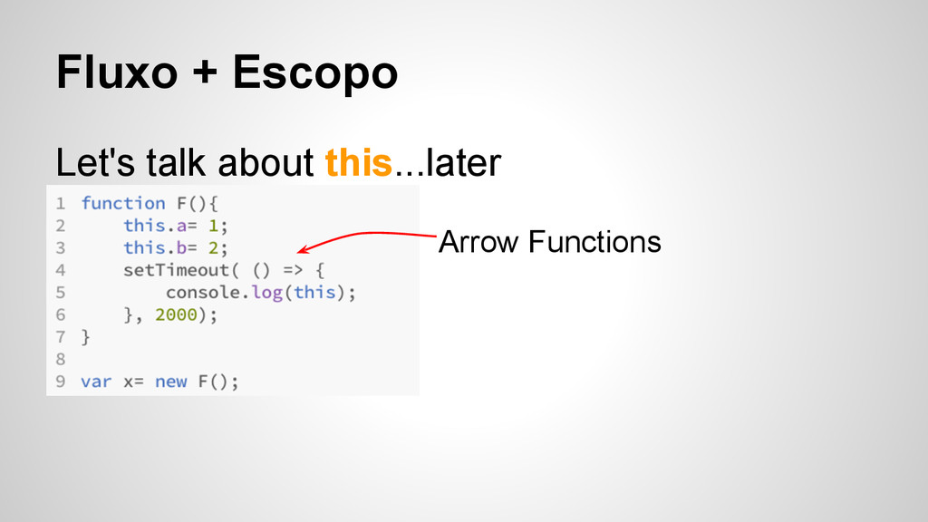 Fluxo + Escopo Let's talk about this...later Ar...