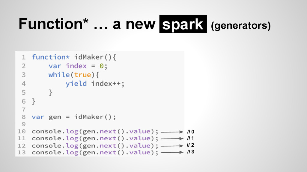 Function* … a new (generators) spark // 0 // 1 ...