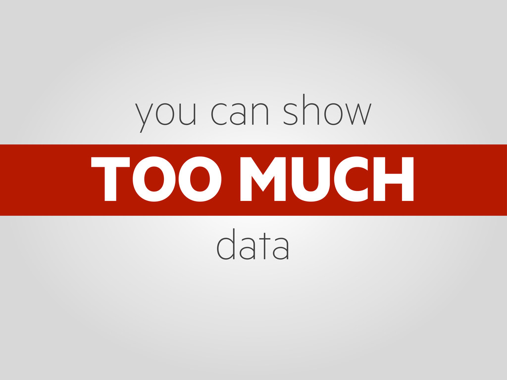 TOO MUCH you can show data