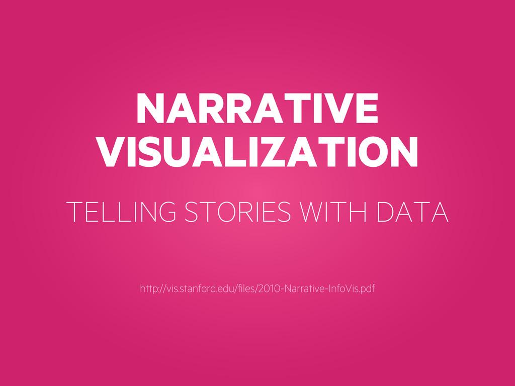 NARRATIVE VISUALIZATION http://vis.stanford.edu...