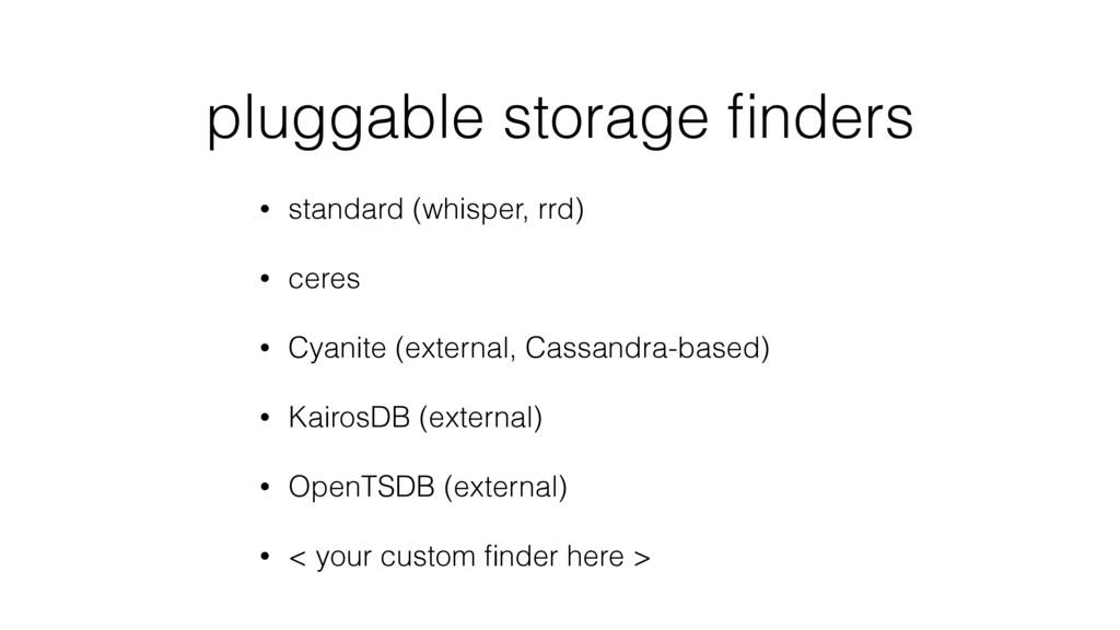pluggable storage finders • standard (whisper, r...