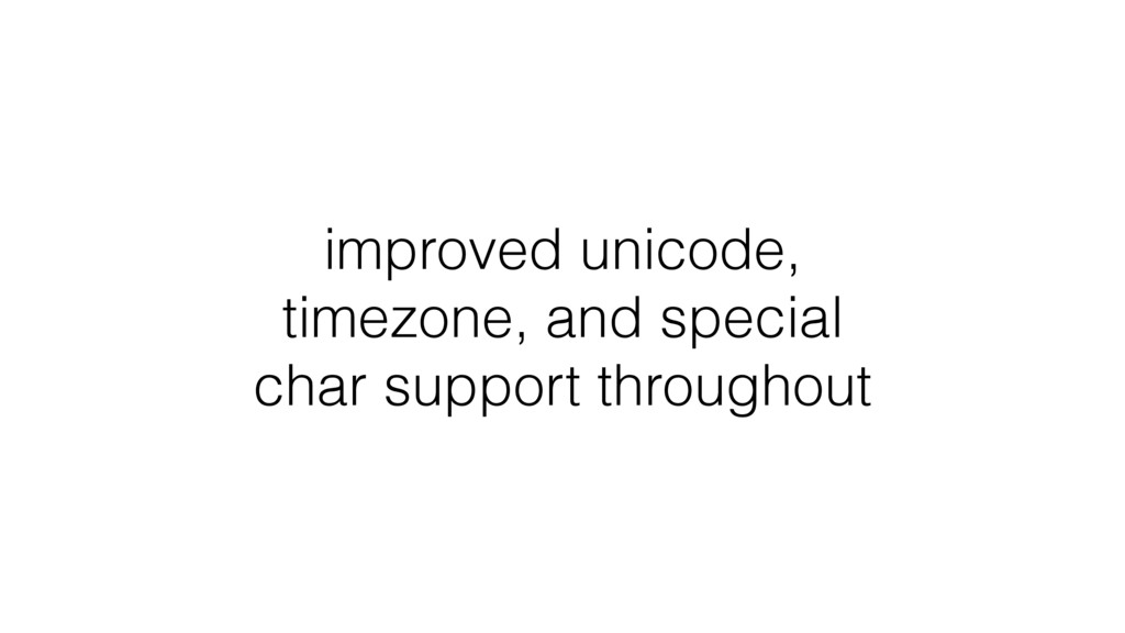 improved unicode, timezone, and special char su...