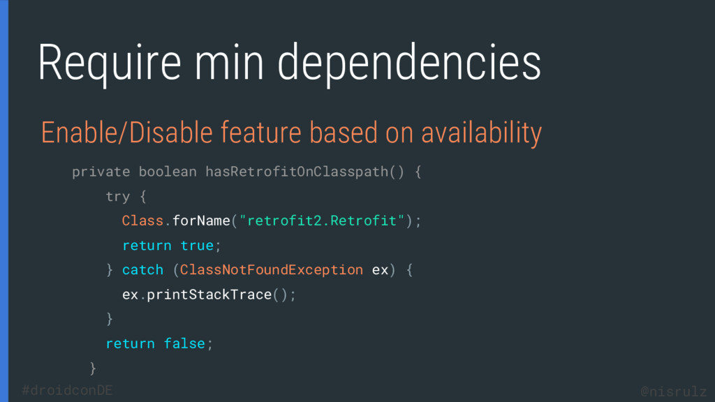 Require min dependencies Enable/Disable feature...