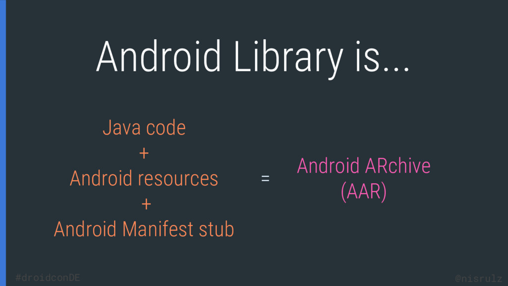 Android Library is... Java code + Android resou...