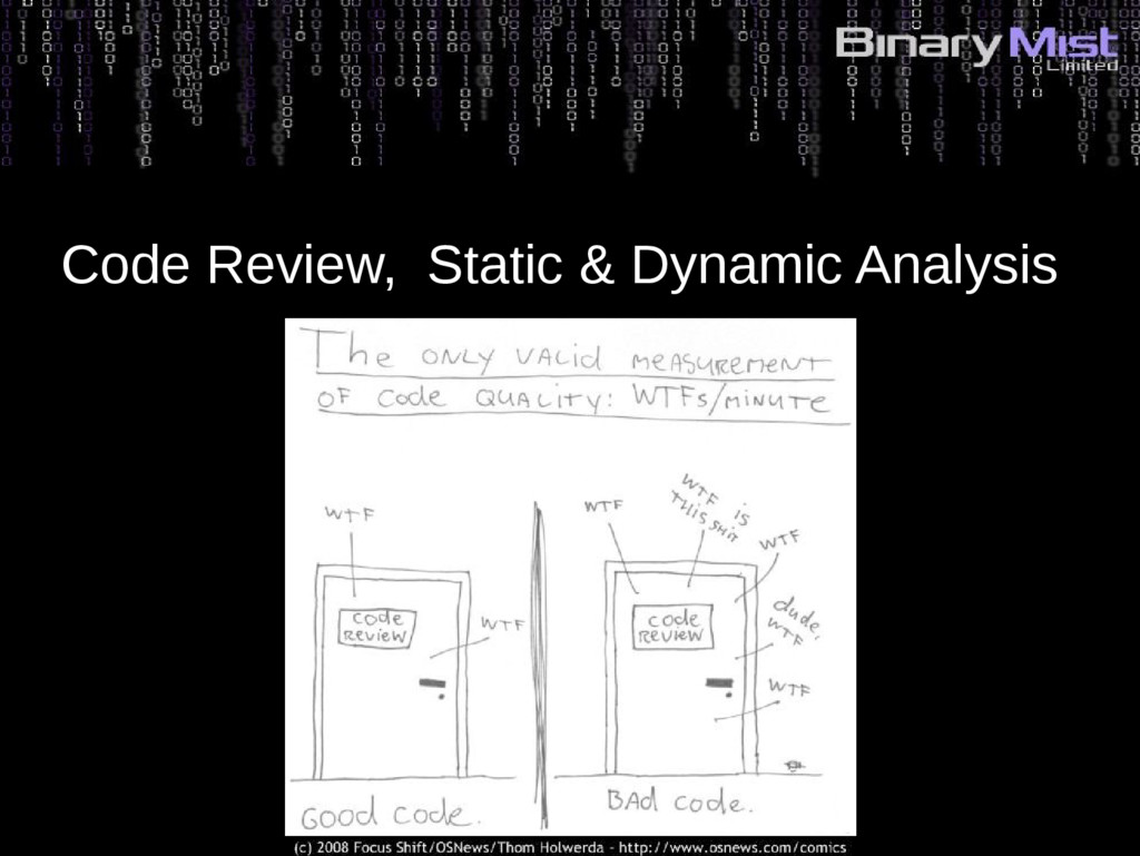 Code Review, Static & Dynamic Analysis