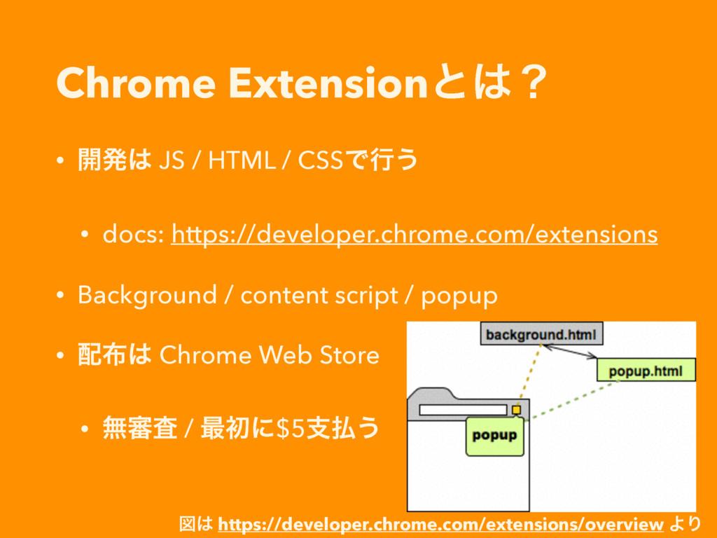 Chrome Extensionͱʁ • ։ൃ JS / HTML / CSSͰߦ͏ • ...