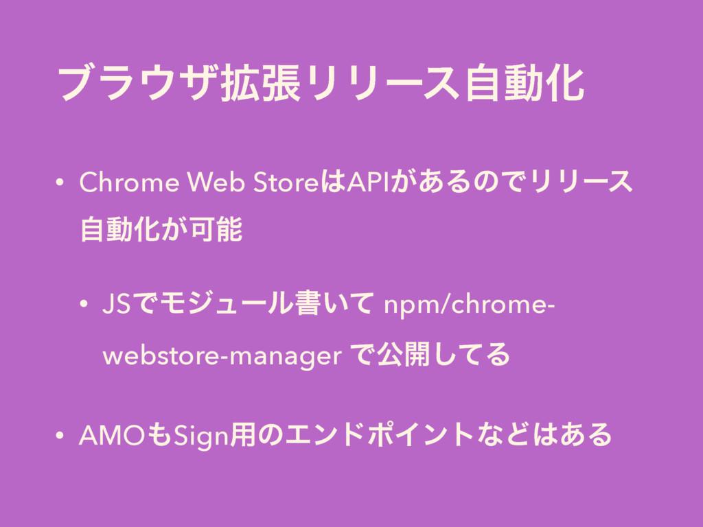 ϒϥβ֦ுϦϦʔεࣗಈԽ • Chrome Web StoreAPI͕͋ΔͷͰϦϦʔε ࣗ...
