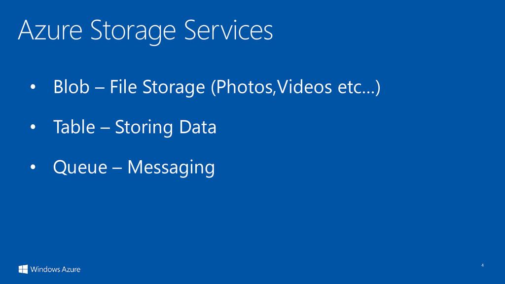 4 • Blob – File Storage (Photos,Videos etc…) • ...