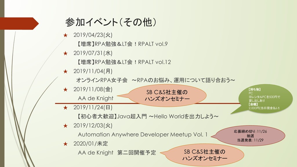 参加イベント(その他) ★ 2019/04/23(火) 【増席】RPA勉強&LT会!RPALT...