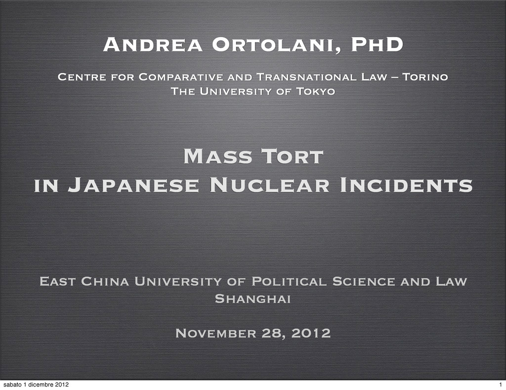 Mass Tort in Japanese Nuclear Incidents East Ch...
