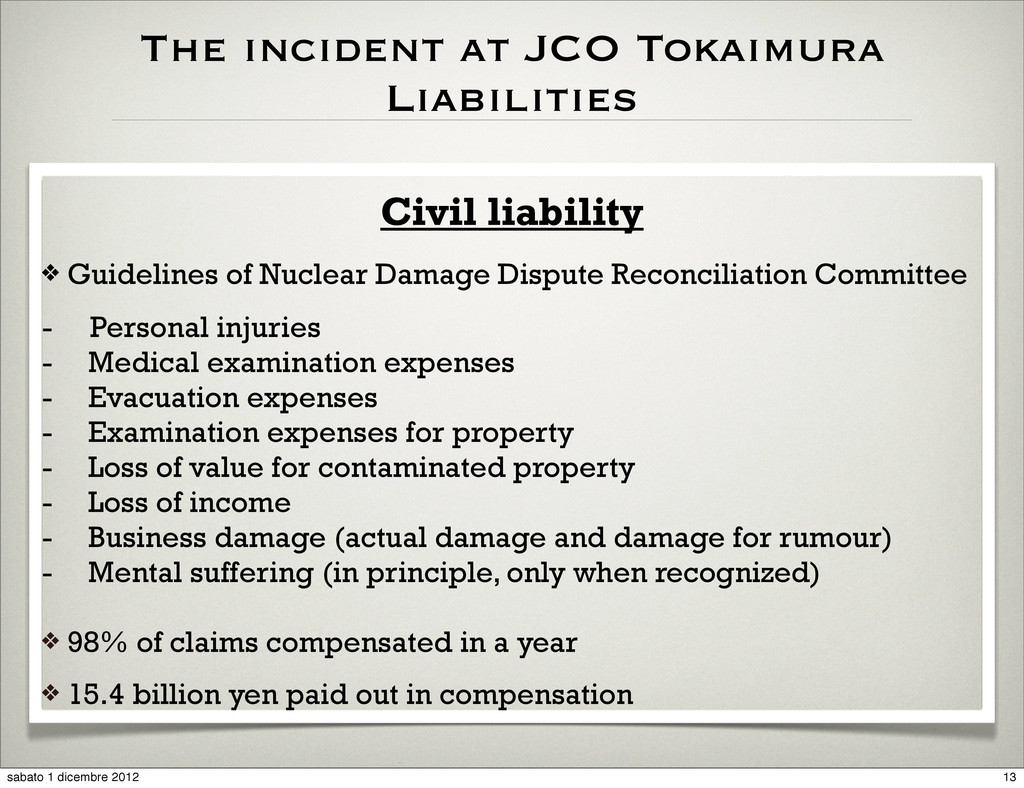 The incident at JCO Tokaimura Liabilities Civil...