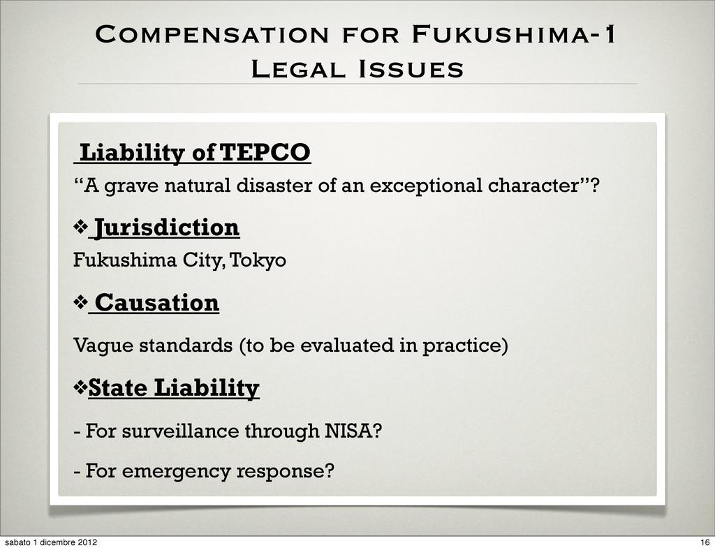 Compensation for Fukushima-1 Legal Issues Liabi...