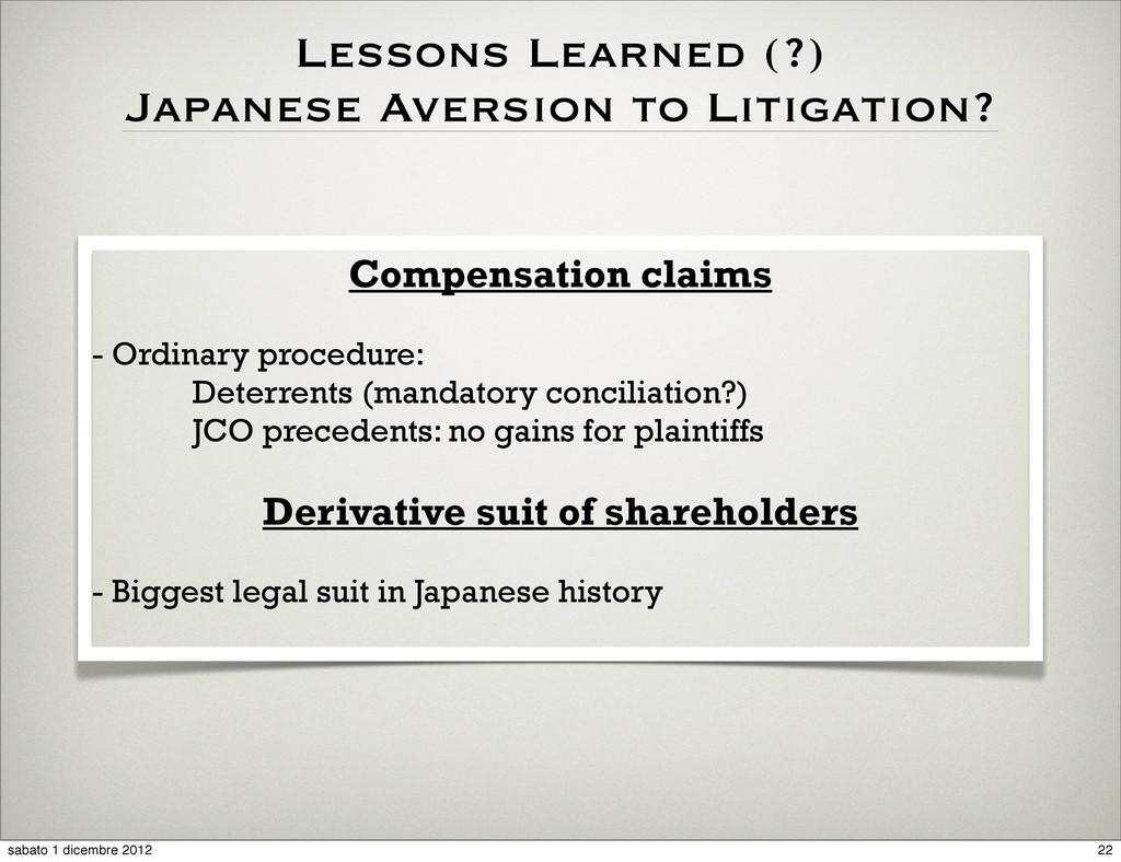 Compensation claims - Ordinary procedure: Deter...