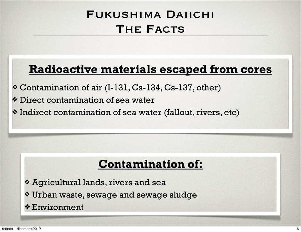 Radioactive materials escaped from cores Contam...