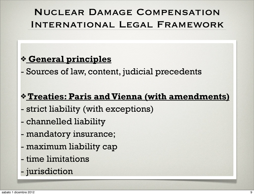 Nuclear Damage Compensation International Legal...
