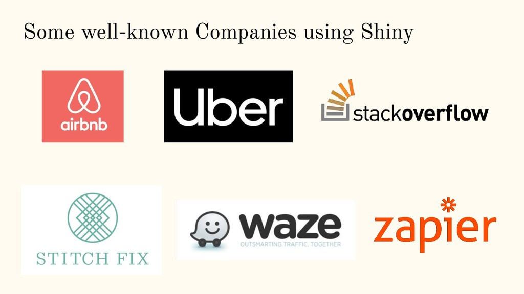 Some well-known Companies using Shiny