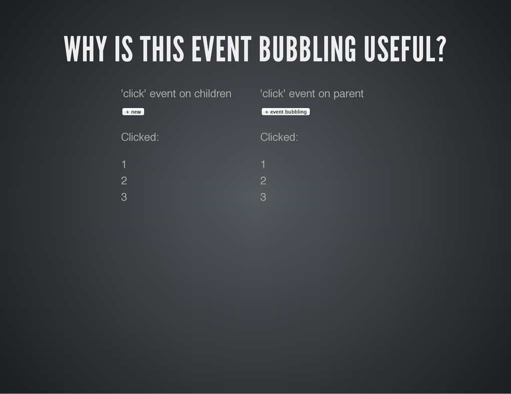 WHY IS THIS EVENT BUBBLING USEFUL? 'click' even...