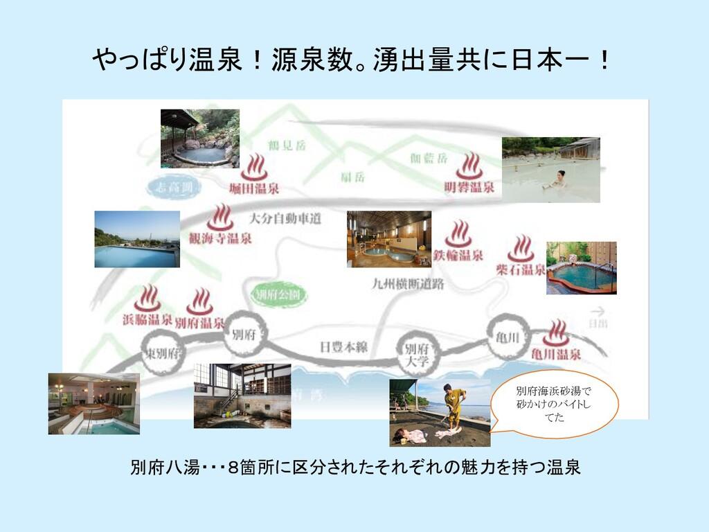 やっぱり温泉!源泉数。湧出量共に日本一! 別府八湯・・・8箇所に区分されたそれぞれの魅力を持つ...
