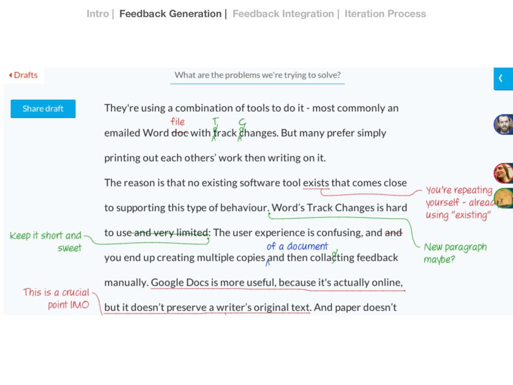 Intro | Feedback Generation | Feedback Integrat...