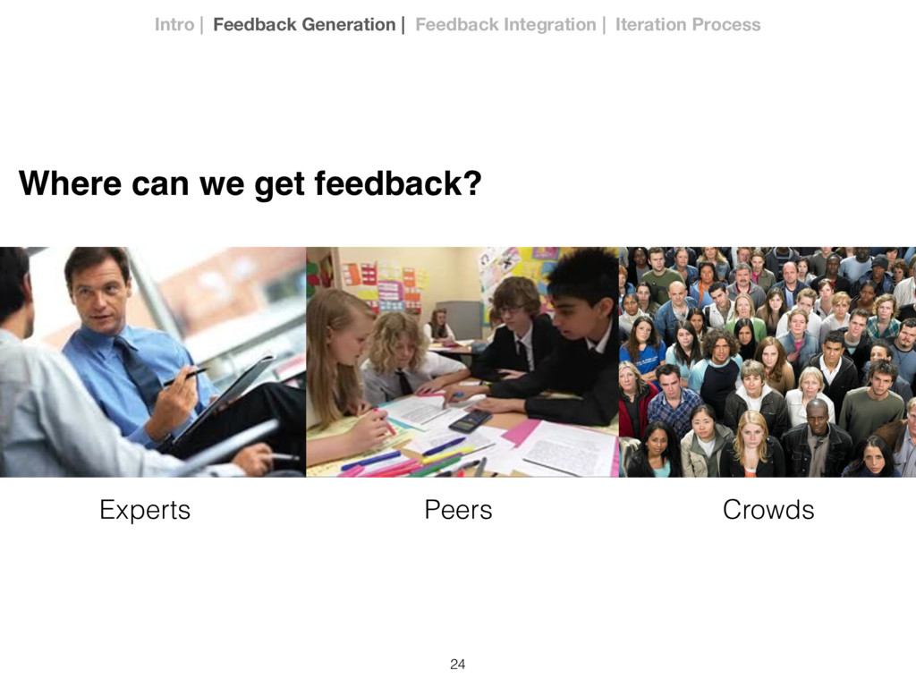24 Experts Peers Crowds Where can we get feedba...