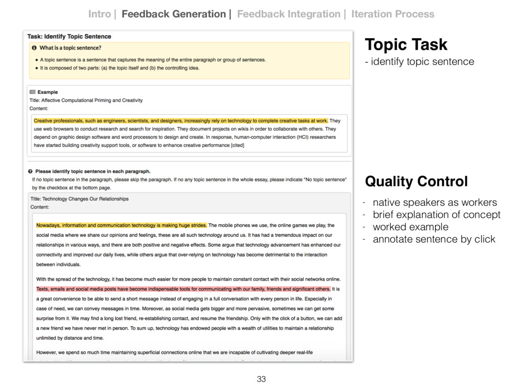 33 Topic Task - identify topic sentence Quality...