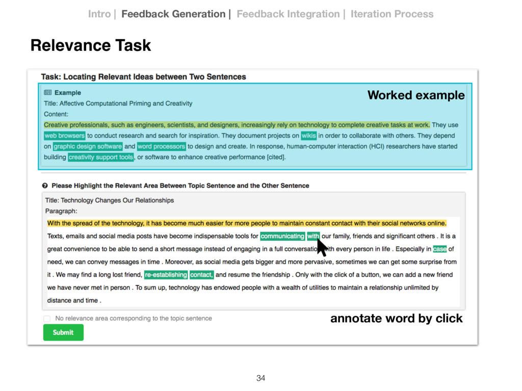 34 Relevance Task Worked example annotate word ...